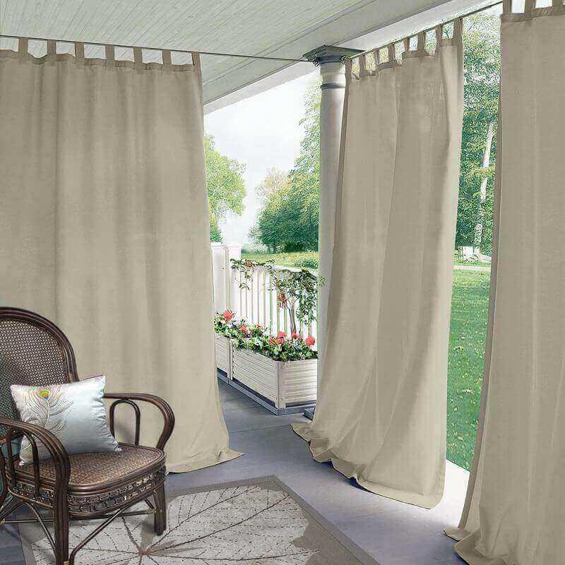 Chadmade Outdoor Curtain Antique Bronze Grommet Eyelet Wheat 52 W X