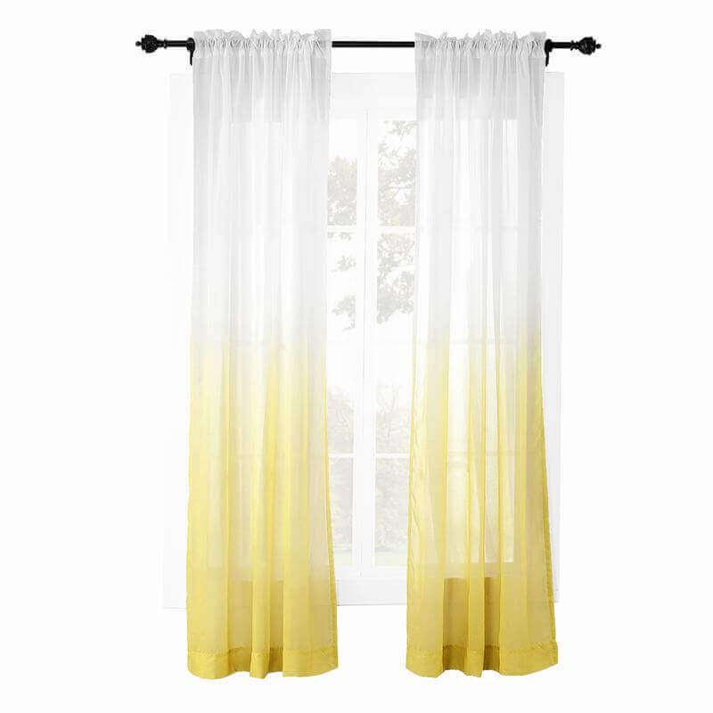 1293de64865e ChadMade Indoor Outdoor Gradient Ombre Sheer Curtain Nickel Grommet Yellow  100 W X 102 L Wide Tulle Gradual Drapes (1 Panel) ChadMade Indoor Outdoor  ...