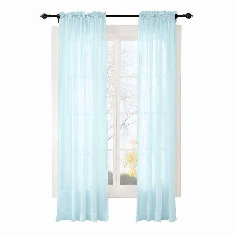 Chadmade Indoor Outdoor Solid Sheer Curtain Tab Top Ivory 84 W X 96