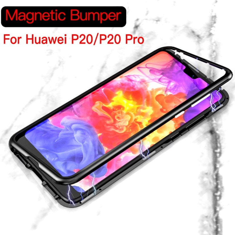 premium selection e3861 8aab9 Magnetic Adsorption Tempered Glass Case for Huawei P20 P20 Pro