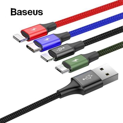 Baseus All-in-One USB Cable for iPhone X 8 7 6 Plus Fast Charging Cable Micro USB Type C Cable for Samsung S9 S8 Plus