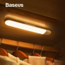 Baseus LED Wardrobe Light PIR Motion Sensor Light USB Rechargeable Night Light LED Night Lamp Magnet Wall Light Warm White Light