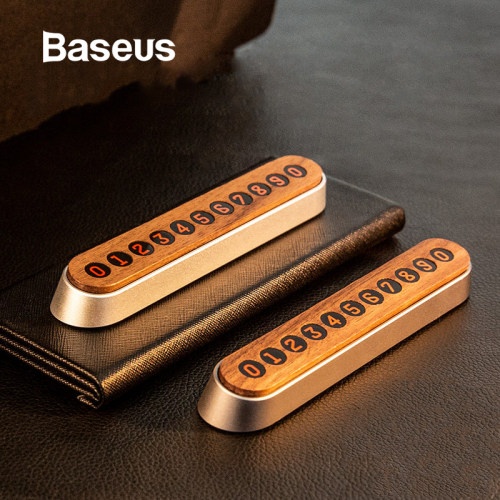 Baseus Car Temporary Parking Card Wooden Phone Number Card Magnet Flip Telephone Numbers Car Accessories Interior Accessorie