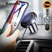 Baseus Qi Wireless Charger Magnetic Phone Holder For iPhone 11 Pro Samsung Fast Charging Car Mobile Phone Mount Holder Stand