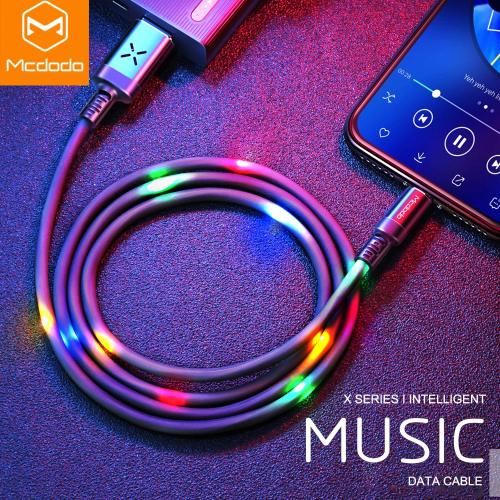MCDODO Volume Control Dancing LED USB Cable Fast Charging Cable Mobile Phone Charger Cable For iPhone X XS MAX 7 8 6 6s plus 5s