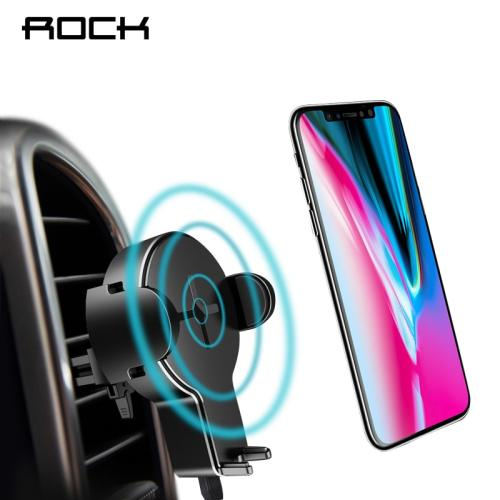 ROCK QI Car Wireless Charger Holder for iPhone X 8 Samsung Galaxy S8 S7 S6 Note 8 Plus Fast Wireless Charging Pad