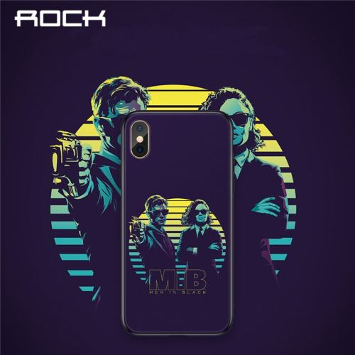 ROCK Tempered Glass Phone Case For iPhone XR X XS MAX XS 8 7 6 Plus Man In Black MIB Glass Protection Phone Cover Coque Capa