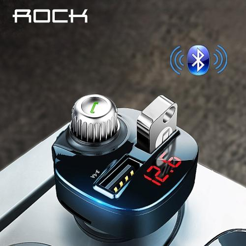 ROCK 3.4A Car Charger MP3 FM Transmitter Bluetooth Phone Charger Handsfree Receiver Audio Music Player TF Card Dual USB