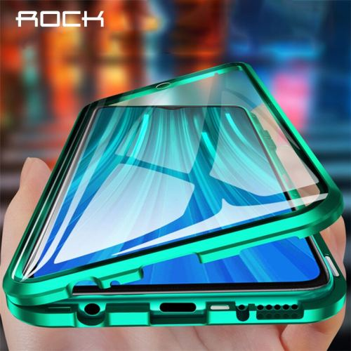 ROCK Magnetic Protective Metal Bumper Double-Side Tempered Glass Flip Phone Case For Xiaomi Redmi Note 8 Pro Case Redmi 8 Fundas