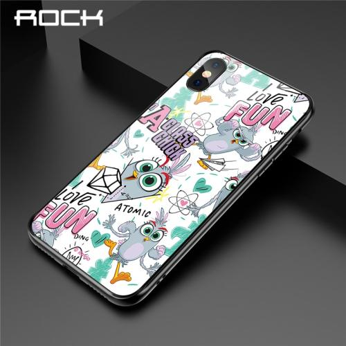 ROCK For Xiaomi Mi 8 Mi 9 Cute Cartoon Birds Phone Case For Xiaomi Protection HD Tempered Glass Cases Phone Cover Coque Capa