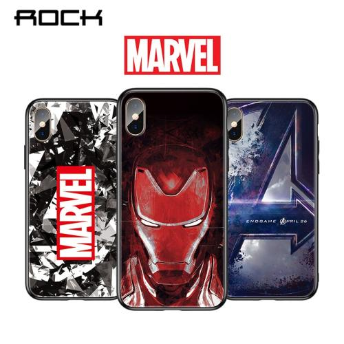 ROCK Luxury Marvel Patterned Tempered Glass Cases For iPhone XS MAX XR 8 7 Plus X Avengers Iron Man Phone Cover Capa