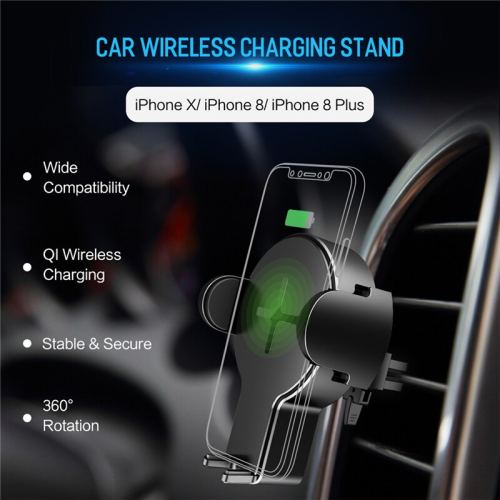 ROCK Qi Fast Wireless Car Phone Charger for iPhone X XS XR 8 Plus Samsung S9 S8 Plus S7 Note 8 Mount