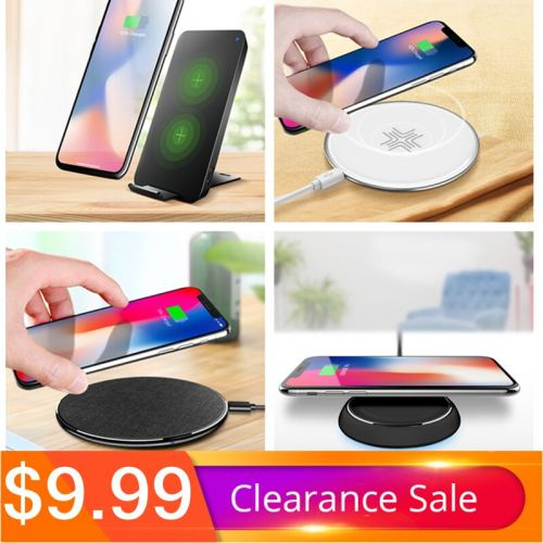 QI Wireless Charger, ROCK Dual Coil Charging Pad 10W For iPhone X 8 Samsung Note 8 S8 Plus S7 S6 Edge Dock Station Holder