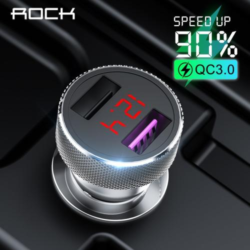 ROCK QC 3.0 Quick Charge Dual USB Metal Car Charger Digital LED Display For iPhone 11 X 8 Xiaomi Samsung Huawei Fast Charging