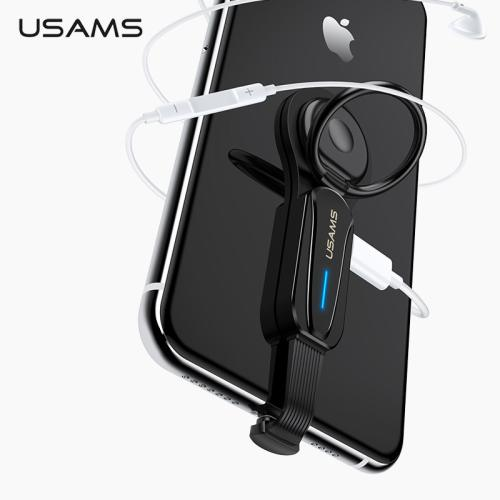 USAMS Dual Lighting Ring Holder Adapter With LED Light Audio & Charger Rotatable Phone Holder Fast Charging Adapter for iPhone