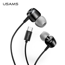 USAMS EP-31 Bass Ear Caps In-ear Type-C Metal Earphone USB C headset Wired inear earphone type c for Samsung Huawei Microphone