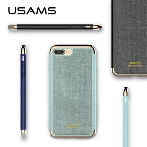 For iphone 7 & iphone 7 Plus Cover Case USAMS Elegant Series Plating PC+PU Three-splicing anti-knock Back Case for iphone7 cover