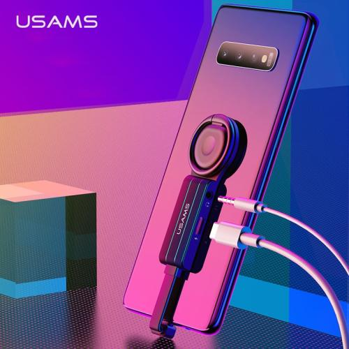USAMS 2 in 1 USB C to 3.5mm Jack Adapter QC3.0 Type-C PD Fast Charging Ring Holder Adapter 180 Degree Audio Splitter for Samsung