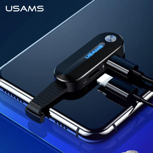 USAMS Dual for Lightning Adapter 2 in 1 Audio Charging for iPhone X XS 7 8 Adapter  for Lightning +3.5mm 2A Charging OTG Adapter