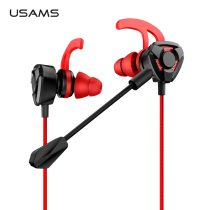 In-ear Gaming Earphones,USAMS 3.5mm L Stereo Headset Earbuds Wired Game inear Earphone 360 Rotation Plug Microphone for Samsung