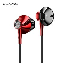USAMS 3.5mm in-ear Earphones Hifi Wired headset with Microphone 4D Stereo Metal earphone for iphone samsung xiaomi
