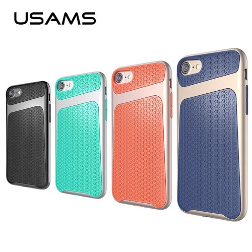 USAMS Anti-knock  PC & TPU Case For iPhone 7 / Plus Anti Skid Grid texture Cover for iphone 7 iPhone7 Case