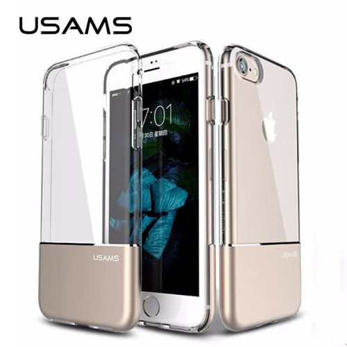 USAMS TPU Metal Dual Shell Mobile Phone Case Full Protector Case Cover Anti-knock Shockproof Back Case Case for iPhone 7 8 Plus