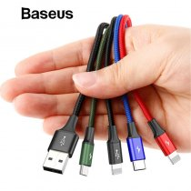 Baseus 4 in 1 USB Cable for iPhone X xs max Charger Cable 3 in 1 Micro USB Type C Cable for Samsung Galaxy S9 S8 Plus