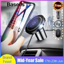 Baseus Magnetic Qi Wireless Charger For iPhone X XS Max Samsung S10 Fast Car Wireless Charging Charger Mobile Phone Holder Stand