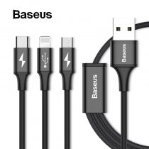 DROP-SHIPPING Baseus 3in1 USB Cable for iPhone X 8 7 6 Cable Micro USB Type C Cable for Samsung S9 S8 Fast Charging Cable