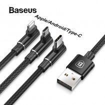 Baseus 3 in 1 Micro USB Type C Cable for USB-C Mobile Phone Type-C Cable for Samsung Galaxy S9 S8 Plus Charger Cable for iPhone