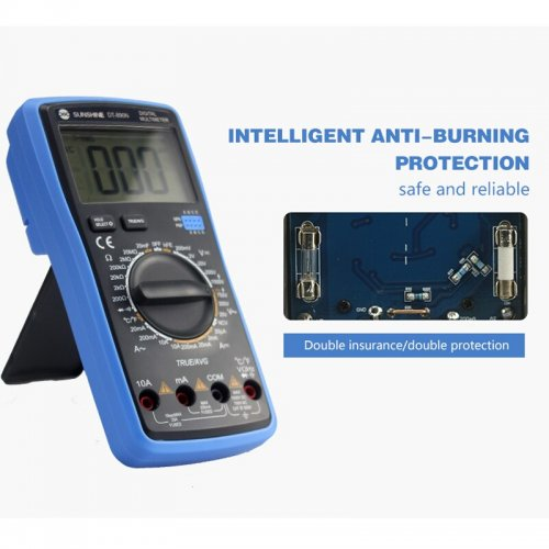 Intellgent Multimeter Temperature Auto Ranging hFE Diode True RMS NCV AC/DC Voltage 10A Current Voltage Capacitance Resistance