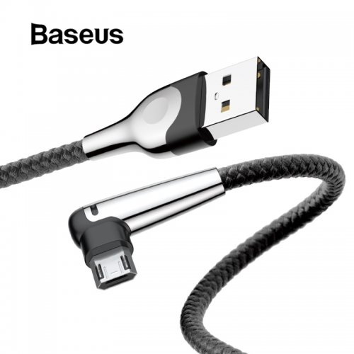 Baseus Micro USB Cable Reversible Charging with Led Lighting for Xiaomi Redmi Note 5 4x Plus Phone Chager Data Double-Side Cable
