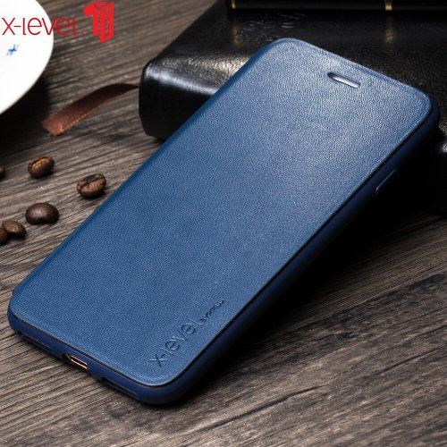 X-Level Flip Leather Case for iPhone 8 Soft Edge Case Luxury Brand Full Protective Ultra Thin Back Cover Case for iPhone 8 Plus