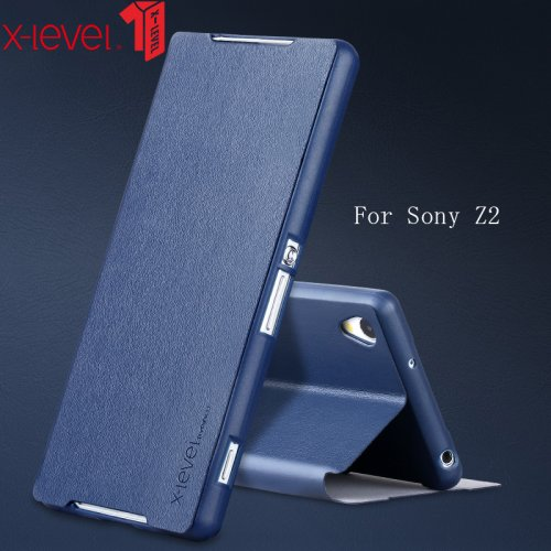 X-Level Flip PU Leather Case For Sony Xperia Z2 Stand Phone Back Cover Coque For Sony Xperia Z2 Case Business Plain Phone Case