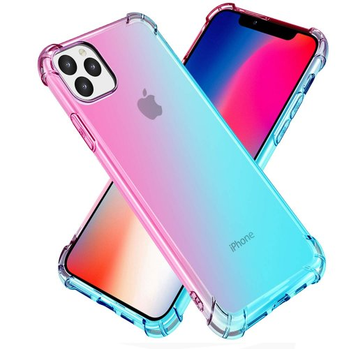 For iPhone 11 Pro Max Case Clear Cute Gradient Slim Anti Scratch TPU Cover Reinforced Corners Shockproof Protective Phone Case