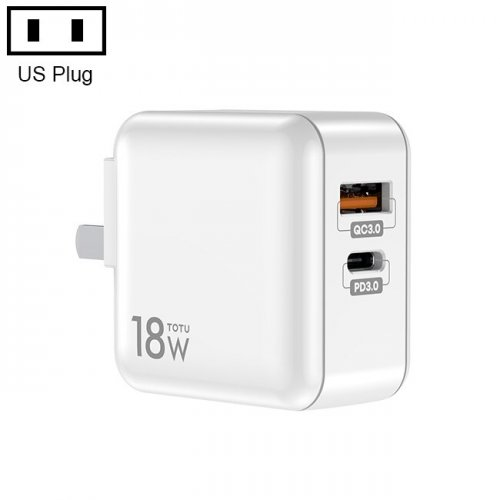 TOTU US/EU/UK Plug USB PD Charger Quick Charge 3.0 Fast Phone Charger For iPhone or Android Travel Series Travel Charger Adapter