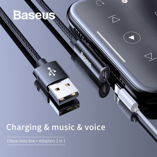 Baseus 2in1 Connector Audio USB Cable for iPhone Charger Cable Earphone Splitter Cable for iPhone xr x xs max Charging Cable