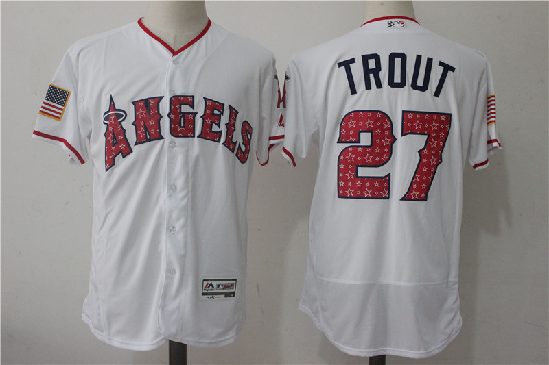 best service 6b6b9 b4b64 Los Angeles Angels #27 Mike Trout Gray With Star White Baseball Jerseys
