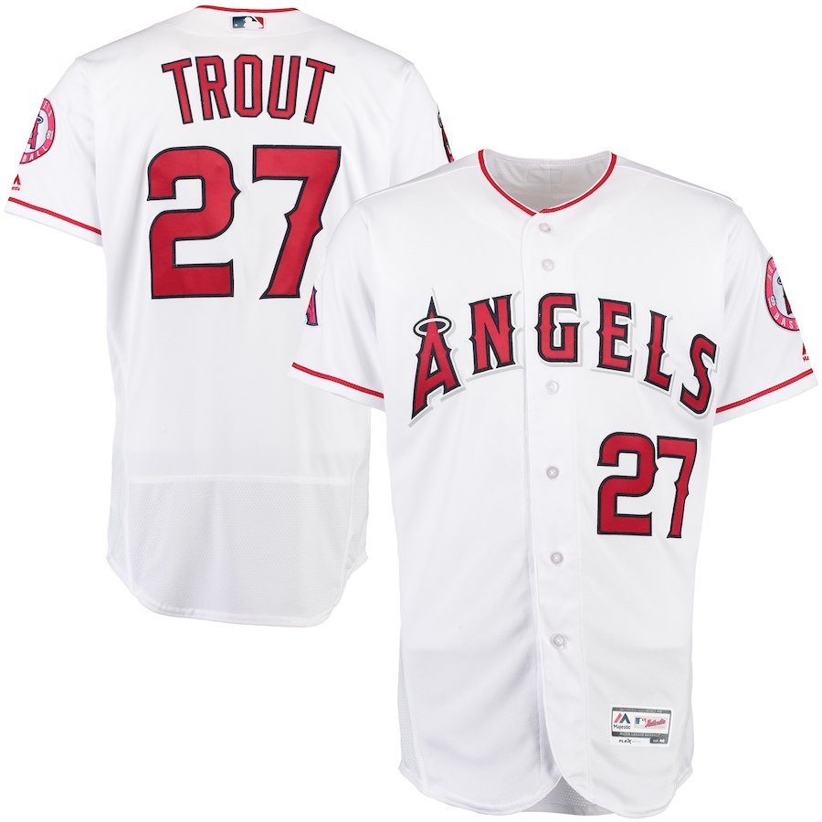 sports shoes e19b4 d0f1a 2019 Trout Discount Mlb Baseball On Sale Mike Jerseys White ...