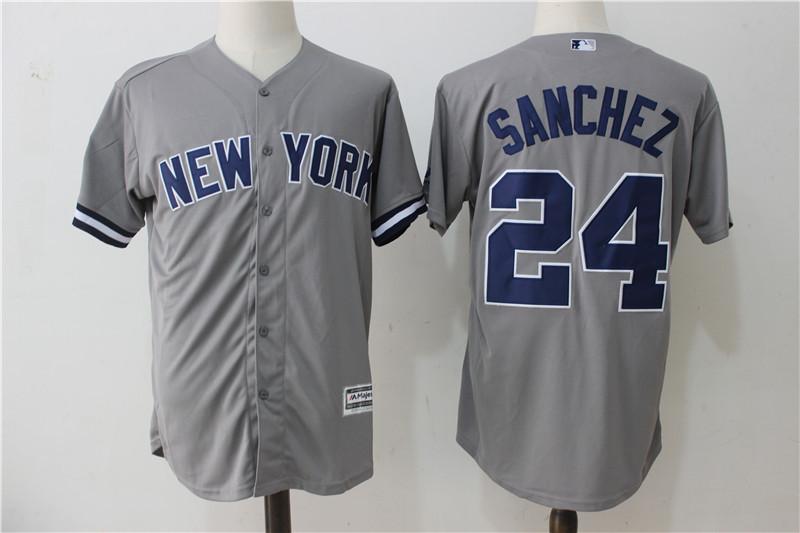 hot sale online 34198 69bac New York Yankees #24 Gary Sanchez Gray Baseball Jerseys Cool Base