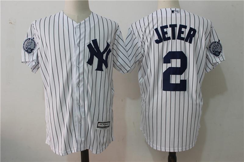 finest selection 66da1 4e9fe New York Yankees #2 Derek Jeter Retirement Patch White Baseball Jerseys  Cool Base
