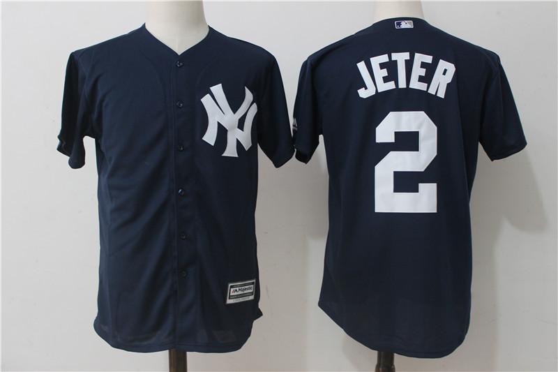 new styles 009ea 6ed4d New York Yankees #2 Derek Jeter Dark Blue Baseball Jerseys Cool Base