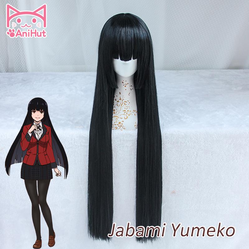 Anihut Jabami Yumeko Wig Anime Kakegurui Cosplay Wig Women Black 100cm Synthetic Hair