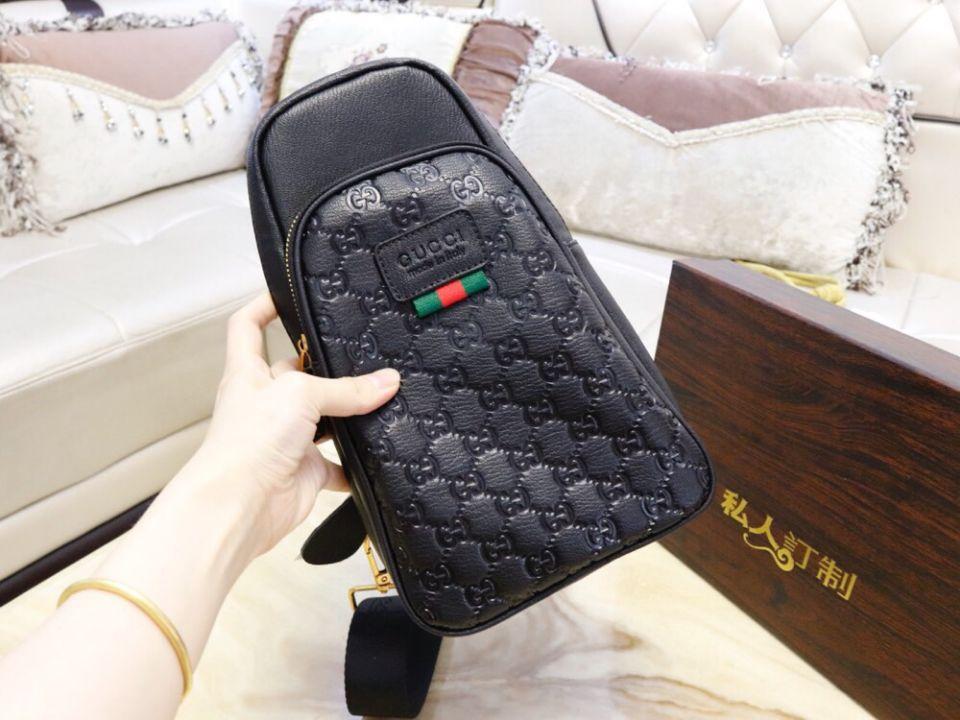 5e83a98091c0 US$ 60 - GUCCI. New Men Leather Black Chest Bag - www.brandinmall.com