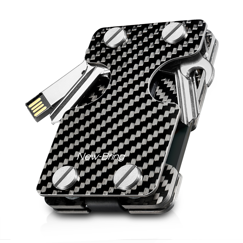 NEW-BRING | Multifunction Metal Key Holder and Credit Card Money Clip Wallet, Carbon Fiber