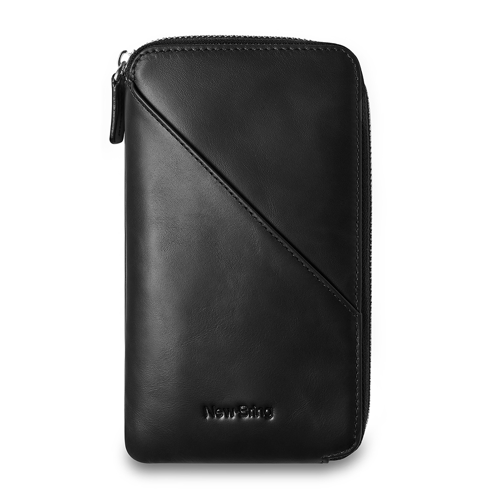 Mens Clutch Bag Leather Handbag With Zipper Organizer Checkbook Wallet Card Holder, Black