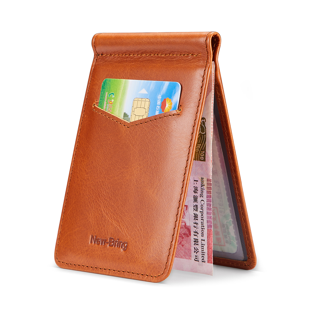 NewBring Genuine Leather Drivers License Holder for Wallet Slim, Orange