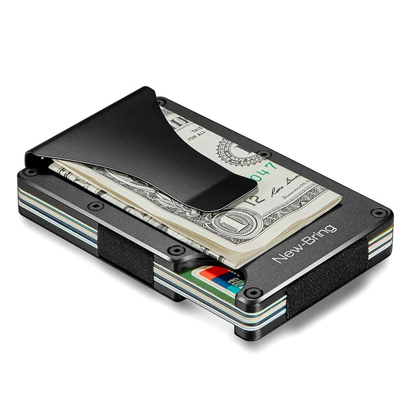 126aa07f32f NewBring Slim Metal Credit Card Holder With RFID Anti-chief Travel Mini  Wallet Man for rfid wallet, Black Item NO: 110174
