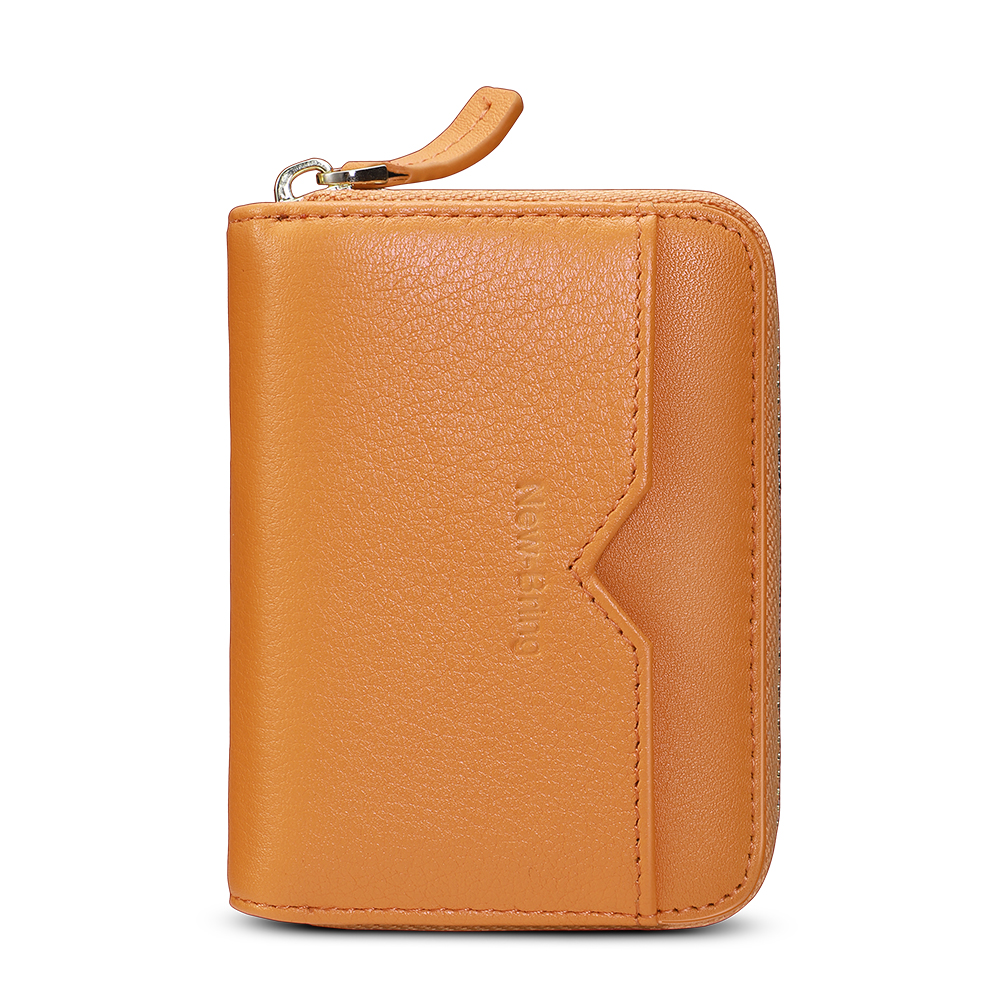 New-Bring RFID Blocking Slim Credit Card Holder Wallet Genuine Leather Multi Card Organizer Travel Wallet with Zipper, Orange